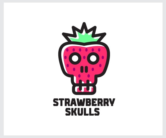 skull and strawberry logo